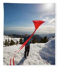 Flying A Kite On A Snowy Mountain Fleece Blanket