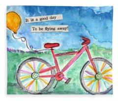 Flying Away- Bicycle And Balloon Painting Fleece Blanket