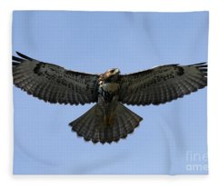 Flying Free - Red-tailed Hawk Fleece Blanket