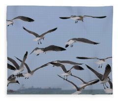 Flying Gulls  Fleece Blanket