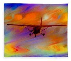 Flying Into A Rainbow Fleece Blanket