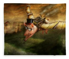 Flying Pig - Steampunk - The Flying Swine Fleece Blanket