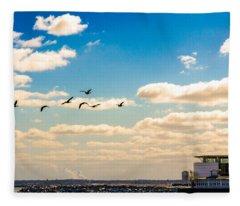 Flying To Discovery Fleece Blanket