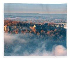 Fog Around The Fortress Koenigstein Fleece Blanket