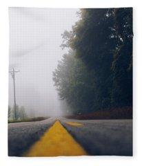 Fog On Highway Fleece Blanket