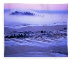 Fog Over The Sand Dunes At Dawn Fleece Blanket