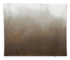 Fog Riverside Park Fleece Blanket