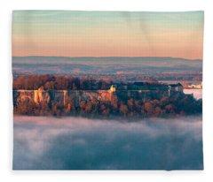 Fog Surrounding The Fortress Koenigstein Fleece Blanket