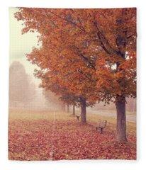 Foggy Autumn Morning Etna New Hampshire Fleece Blanket