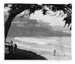 Foggy Day On Carmel Beach Fleece Blanket