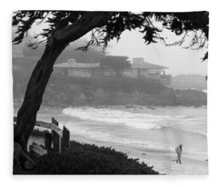 Foggy Day On Carmel Beach Fleece Blanket