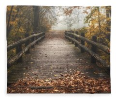 Foggy Lake Park Footbridge Fleece Blanket