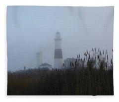 Foggy Montauk Lighthouse Fleece Blanket