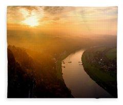 Foggy Sunrise At The Elbe Fleece Blanket