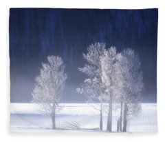 Foggy Sunrise In Yellowstone National Park Fleece Blanket