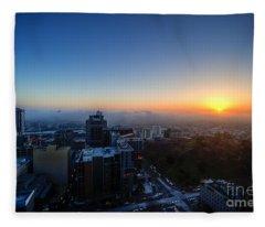 Foggy Sunset Fleece Blanket