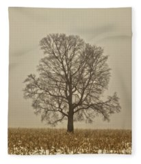 Foggy Tree Fleece Blanket