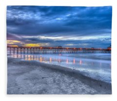 Folly Beach Fishing Pier Fleece Blanket