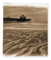 Folly Beach Pier Toned Fleece Blanket