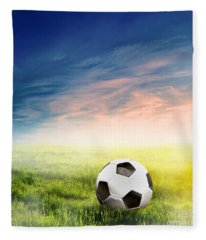 Football Soccer Ball On Green Grass Fleece Blanket