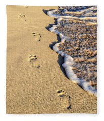 Footprints On Beach Fleece Blanket