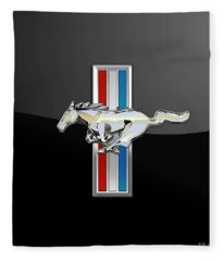 Ford Mustang - Tri Bar And Pony 3 D Badge On Black Fleece Blanket