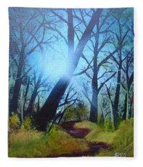 Forest Sunlight Fleece Blanket