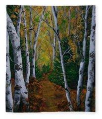 Birch Tree Forest Trail  Fleece Blanket