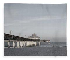 Fort Myers Beach Pier - Black And White Fleece Blanket