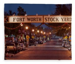 Fort Worth Stock Yards Night Fleece Blanket