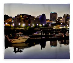 Foss Waterway At Night Fleece Blanket