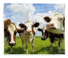 Four Chatting Cows Fleece Blanket