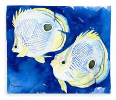 Foureye Butterflyfish Fleece Blanket