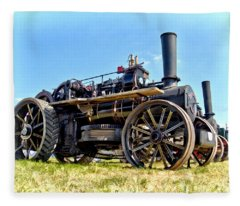 Fowler Ploughing Engine Fleece Blanket