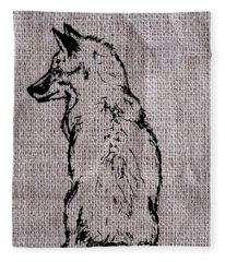 Fox On Burlap  Fleece Blanket