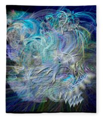Fractal Feathers Blue Fleece Blanket