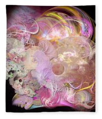 Fractal Feathers Pink Fleece Blanket