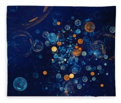 Fractal Soapbubbles - Abstract In Blue And Orange Fleece Blanket