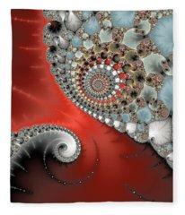 Fractal Spiral Art Red Grey And Light Blue Fleece Blanket