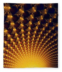 Fractal Yellow Golden And Black Firework Fleece Blanket