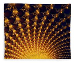 Fractal Yellow Golden And Black Firework Fleece Blanket