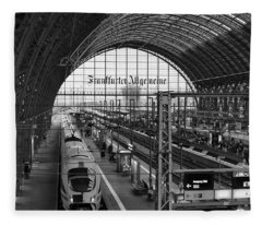 Frankfurt Bahnhof - Train Station Fleece Blanket
