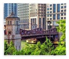 Chicago Franklin Street Bridge Fleece Blanket