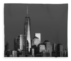 Freedom Tower Glow Bw Fleece Blanket