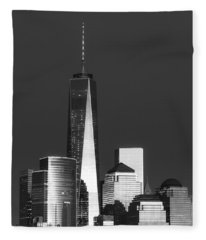 Freedom Tower Glow II Bw Fleece Blanket