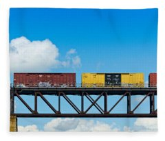 Freight Train Passing Over A Bridge Fleece Blanket