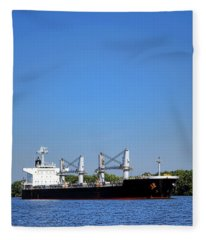 Freighter On River Fleece Blanket