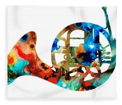 French Horn - Colorful Music By Sharon Cummings Fleece Blanket