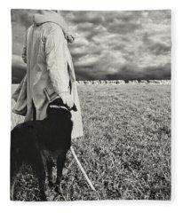 French Shepherd - B W Fleece Blanket