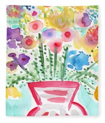 Fresh Picked Flowers- Contemporary Watercolor Painting Fleece Blanket